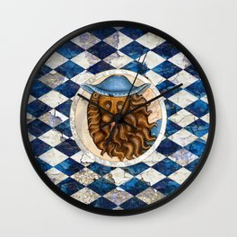 Medieval Lion In A Blue Hat Wall Clock