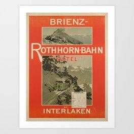 Advertisement brienz rothhorn bahn und hotel bei Art Print
