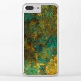 Turquoise, Gold, and Copper Abstract Clear iPhone Case