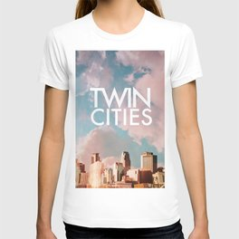 Twin Cities Skylines and Colorful Sky-Minneapolis and Saint Paul Minnesota T-shirt