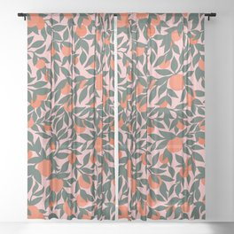 Oranges and Leaves Pattern - Pink Sheer Curtain