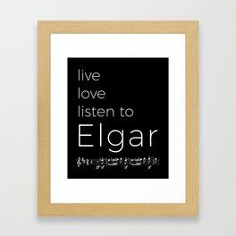 Live, love, listen to Elgar (dark colors) Framed Art Print
