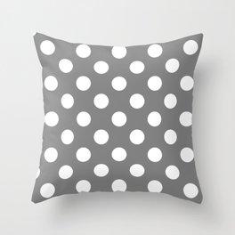 Gray (HTML/CSS gray) - grey - White Polka Dots - Pois Pattern Throw Pillow