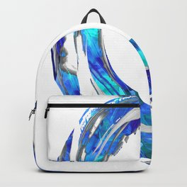 Blue And White Abstract Art - Swirling 1 - Sharon Cummings Backpack