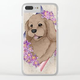 Doodle Pup Portrait Clear iPhone Case