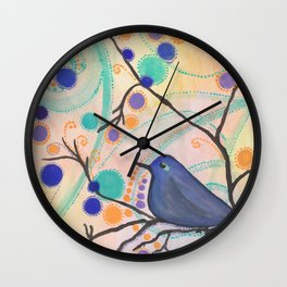 Happy Bluebird Wall Clock
