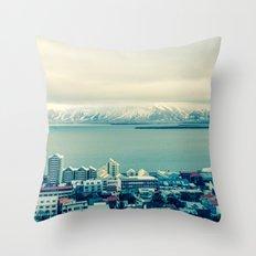 Blue Reykjavik - Iceland Throw Pillow