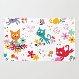 cats playing and flowers Rug