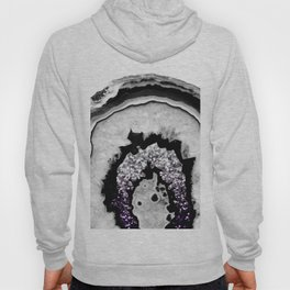 Gray Black White Agate with Purple Black Silver Glitter #1 #gem #decor #art #society6 Hoody