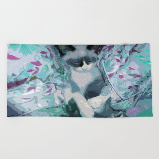 Nestled Kitten in Comforter Cloud Beach Towel