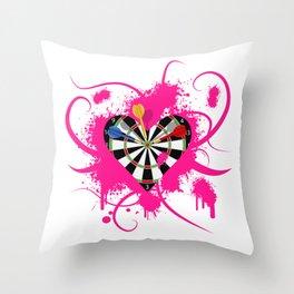Dartboard Romance Throw Pillow