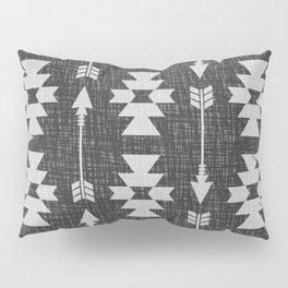 Southwestern Arrow Pattern 238 Black Grey and White Pillow Sham