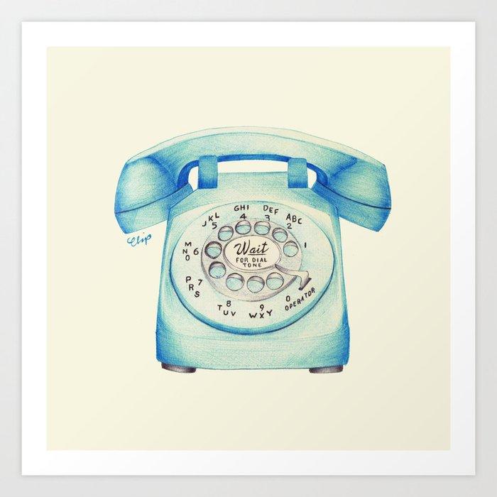 Rotary Telephone - Ballpoint Art Print
