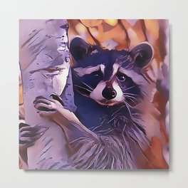 Raccoon Just Hanging Around Metal Print