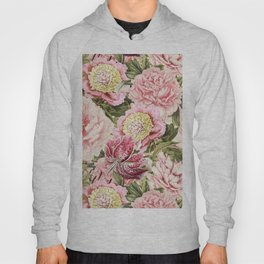 Vintage & Shabby Chic Floral Peony & Lily Flowers Watercolor Pattern Hoody