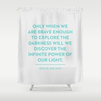 be brave Shower Curtains featuring Brave by Heart of Hearts Designs