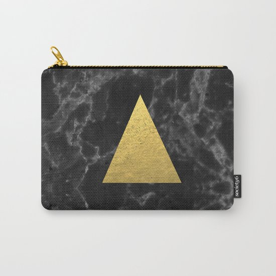 Black Gold Marble Tri - dark solid classic gold foil on marble cell phone case for college dorm  Carry-All Pouch