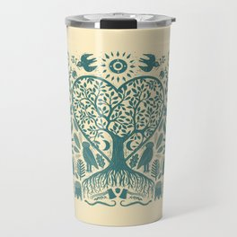 Rustic Early American Tree Of Life Woodcut Travel Mug