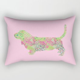 Bassett Hound Vintage Floral Pattern Pink Green Mint Shabby Chic Rectangular Pillow