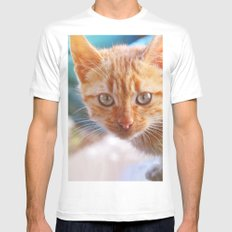 Cat White MEDIUM Mens Fitted Tee