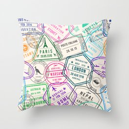 Passport to Adventure Vintage Style Travel Stamps Pattern Throw Pillow