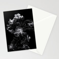 Backyard Flowers In Black And White 4 Stationery Cards