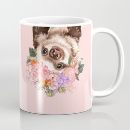 Baby Sloth with Flowers Crown in Pink Coffee Mug