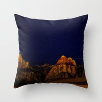 night sky Throw Pillows featuring night sky by haroulita