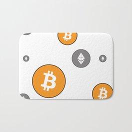 Ethereum and Bitcoin Pattern Bath Mat