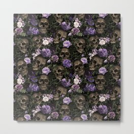 Skull and Rose Garden Metal Print