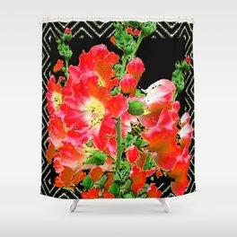 Modern Art Reddish Pink Colored Hollyhocks Black-white Pattern Shower Curtain