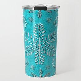 DP044-11 Silver snowflakes on turquoise Travel Mug