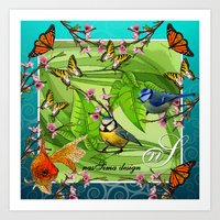 Birdy & Fishy spring blue Art Print