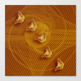 Butterflies, fractal and chevron design in copper Canvas Print