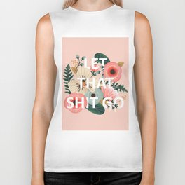 LET THAT SHIT GO - Sweary Floral (peach) Biker Tank