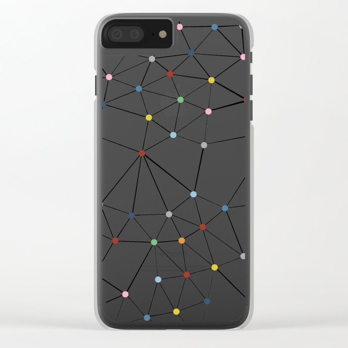 Seg with Color Spots White Clear iPhone Case