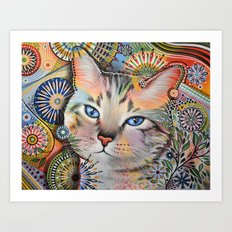 Aslan ... Abstract cat art Art Print