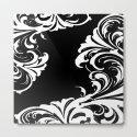Damask Black and White Victorian Leaf Damask #1 by saundramyles