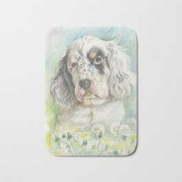 ENGLISH SETTER PUPPY Cute dog portrait on the dandelions meadow Bath Mat