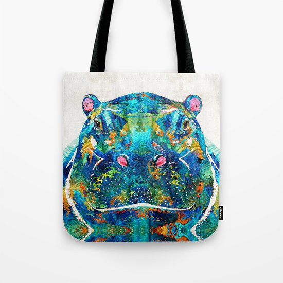 Hippopotamus Art - Happy Hippo - By Sharon Cummings Tote Bag