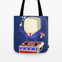 politics Tote Bags featuring Politics are Dirty by Jonah Makes Artstuff