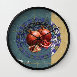 The Fine Art of Pomegranate in the Antique Plate! Wall Clock