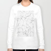 white marble Long Sleeve T-shirts featuring White Marble by littlesak