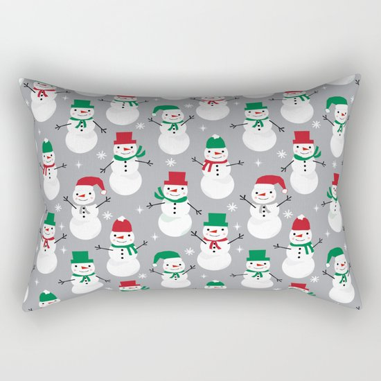 Snowman festive family fun snow day memories winter themed art pattern illustration Rectangular Pillow