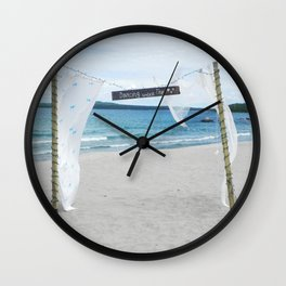 Beach Wedding Wall Clock