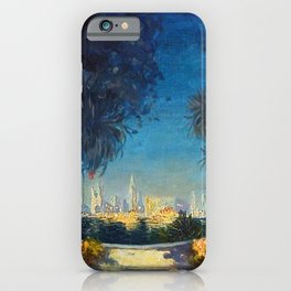 Nighttime Garden View with lanterns across a Lake towards a City by Thomas Mostyn iPhone Case