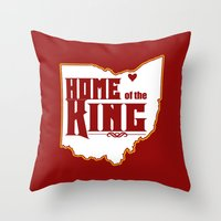 lebron Throw Pillows featuring Home of the King (Red) by Denise Zavagno