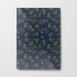 Gold Squid (Indigo) Metal Print