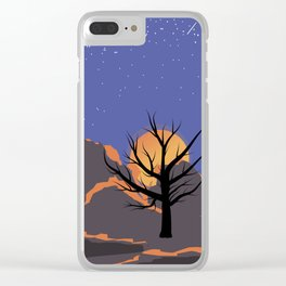 Deep space. Space landscape background. Cosmic sunset on the background of mountains. Background tex Clear iPhone Case