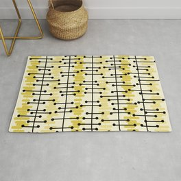 1950s Retro Abstract Lines Light Yellow Rug